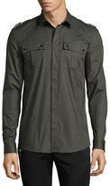 Versace Embellished-Epaulet Military Shirt, Army Green