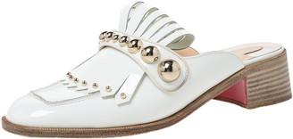 Christian Louboutin White Patent Leather Octavian Mula Mule Sandals Size 38