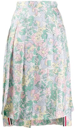 Thom Browne Sunny Floral Print Below-Knee Pleated Skirt