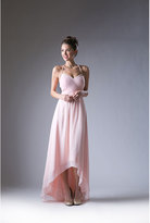 Unique Vintage Peach Chiffon High Low Halter Top Dress