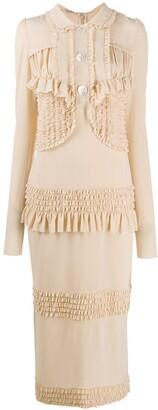 Miu Miu Ruffled Trimming Fitted Dress