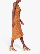 Oasis Spot Ruffle Wrap Sleeveless Midi Dress, Brown