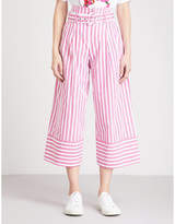 Mo&Co. Striped paper bag-waist wide-leg cotton trousers