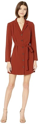 BCBGeneration Button-Down Dress with Tie TOD6255020 (Russet Brown) Women's Clothing