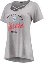Unbranded Women's Heathered Gray Philadelphia 76ers Criss Cross Front Tri-Blend T-Shirt