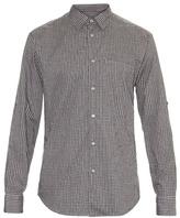 John Varvatos Micro-checked Long-sleeved Cotton Shirt
