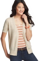 LOFT Pointelle Short Sleeve Cotton Cardigan