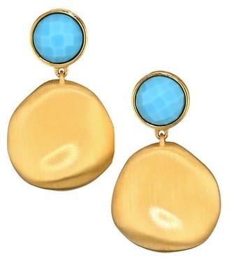 Dean Davidson 22K Goldplated & Turquoise Drop Earrings