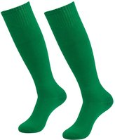 3street Unisex Soccer Sports Team Cushion Knee High Compression Tube Socks Green 2-Pairs