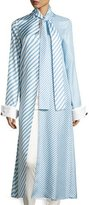 Monse Striped Tie-Neck Long Shirt, Periwinkle/White