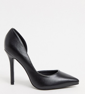 Glamorous Wide Fit D'orsay court shoes in black