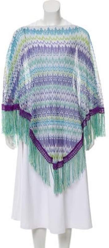 Missoni Fringe-Trimmed Open Knit Poncho purple Fringe-Trimmed Open Knit Poncho