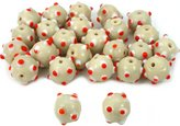 Generic White Round Dot Glass Beads Lampwork Beading Approx 25