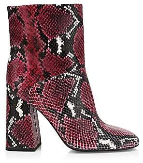 Alice + Olivia Women's Diya Snakeskin-Print Leather Ankle Boots