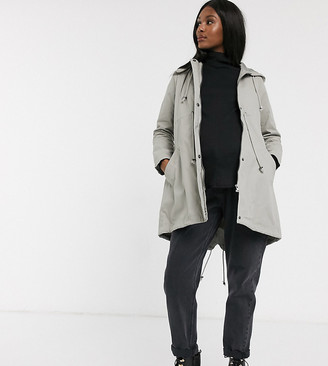 Mama Licious Mamalicious Maternity anorak parka jacket in grey