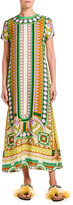 Double J Geometric Print Midi Swing Dress