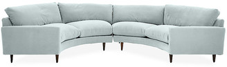 One Kings Lane Onslow Curved Sectional - Seafoam Crypton Velvet - frame, chocolate; upholstery, seafoam