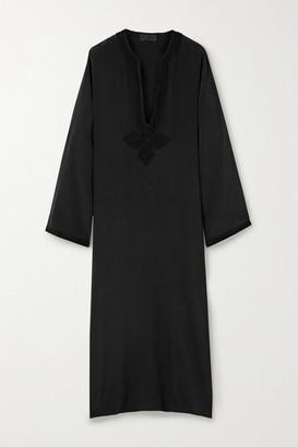 Nili Lotan Julie Embroidered Silk-crepe Midi Dress - Black