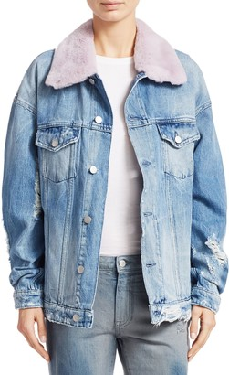 Alchemist Rocky Rabbit Fur Trim Distressed Denim Jacket