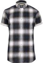River Island Mens Blue check short sleeve shirt