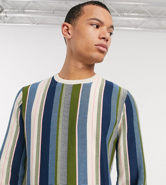 ASOS DESIGN Tall sweater in textured vertical stripe in green
