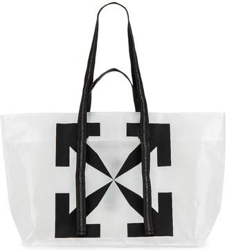 Off-White Arrow Tyvek Tote Bag in Transparent & Black | FWRD