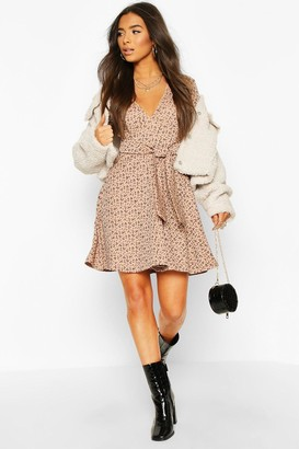 boohoo Rib Floral Print Belted Skater Dress
