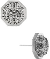 Louise et Cie Rhodium Plated Pave Octagon Post Earrings