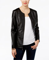 Alfani Petite Faux-Leather Peplum Jacket, Only at Macy's
