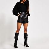 River Island Womens Petite Black faux leather high waist shorts