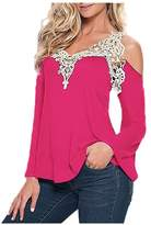 Elonglin Womens Sexy Off Shoulder Tops Flare Sleeve T-Shirt V Neck Blouse Lace