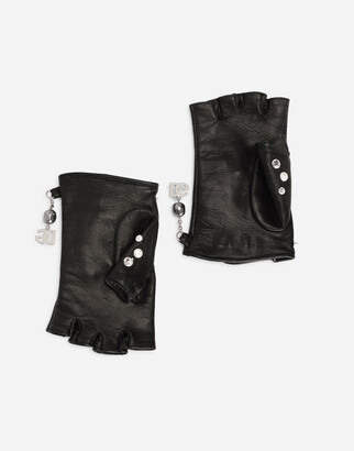Dolce & Gabbana Nappa leather gloves with bejeweled embellishment