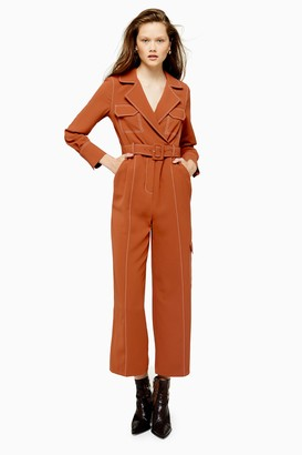 Topshop Rust Topstitch Flying Jumpsuit