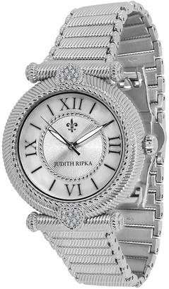 Judith Ripka Stainless Avignon Textured Bracelet Watch
