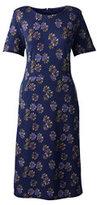 Classic Women's Petite Short Sleeve Ponté Sheath Dress-Patriot Blue Floral