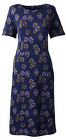 Classic Women's Petite Short Sleeve Ponté Sheath Dress-Persian Cobalt Print