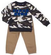 Little Lass 2-pc. Long Sleeve Camo Sweatshirt Pant Set Baby Boys