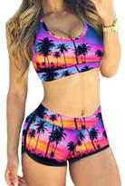 Pinkyee Sexy Coconut Palm Sport Bra Swim Short Bikini Swimsuit