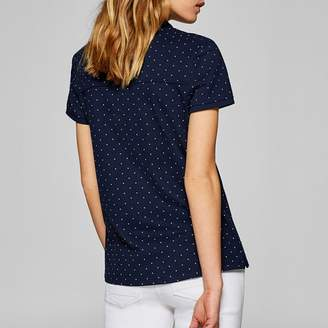 Esprit Polka Dot Print Short-Sleeved Polo Shirt