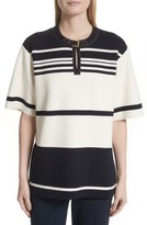 Tory Burch Women's Krista Suede Trim Stripe Sweater