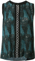 Yigal Azrouel tribal print pleated top - women - Polyester - 8