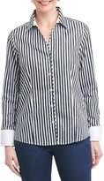Foxcroft Petite Women's Lauren Sateen Stripe Shirt