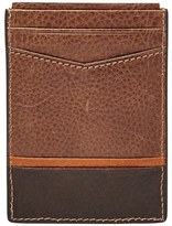 Fossil Men's 'Ian' Leather Magnetic Money Clip Card Case - Brown