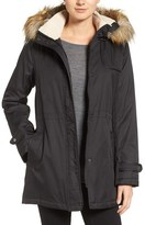Larry Levine Women's Faux Shearling & Faux Fur Trim Water Repellent Parka With Detachable Hood