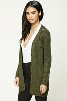Forever 21 FOREVER 21+ Distressed Button-Down Cardigan
