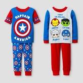 Baby Boys' Captain America® Snug Fit 4-Piece Cotton Pajama Set - Blue 18M
