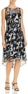 Adrianna Papell Embroidered Lace Midi Dress