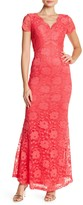 Ellen Tracy Short Sleeve Lace Gown