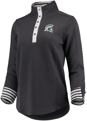 Women's Charcoal Michigan State Spartans Out of Your League Quilted Quarter-Snap Pullover Jacket