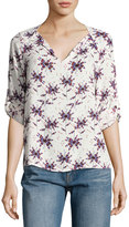 Collective Concepts Floral-Print Split-Neck Top, Blue
